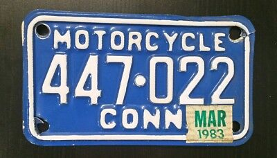 1983 Connecticut Motorcycle License Plate
