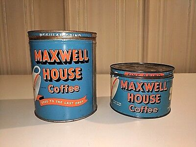 2VTG MAXWELL HOUSE COFFEE TINs 1&2 lb., Blue, with Lids excellent old cans