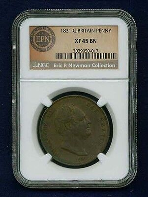G.b./england  William Iv  1831 1 Penny Coin, Certified Ngc Xf-45-Bn
