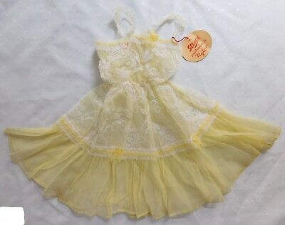 Girls vintage petticoat dress yellow nylon Stevex 18 months 1950s 1960s UNUSED