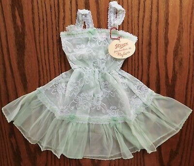 Girls vintage petticoat dress lacy green nylon Stevex Age 2 1950s 1960s UNUSED