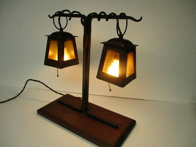 Arts & Crafts Lantern Frame Table Lamp Hammered Copper & Iron Manner of Stickley