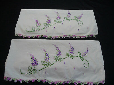 Vintage Pair Pillowcases Hand Embroidered Purple Flowers Crochet Scallop Edge