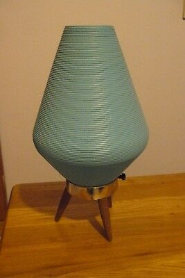 Vintage Mid Century Modern Atomic Beehive Lamp Turquoise Teal Wooden Tripod Legs