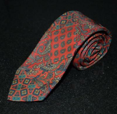 "Vtg ROBERT TALBOTT Silk Patchwork Ancient Heavy Madder Tie Red Paisely 58"" 3.25"""