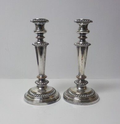 """Pair 19th English OLD SHEFFIELD PLATE 10"""" Silver Candlesticks"""