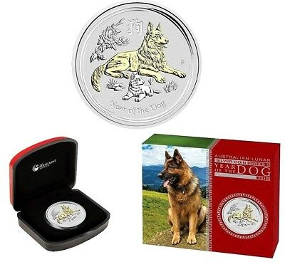 2018 Australia Lunar Year of the Dog 24k Gilded Proof 1 Oz .9999 Silver Coin