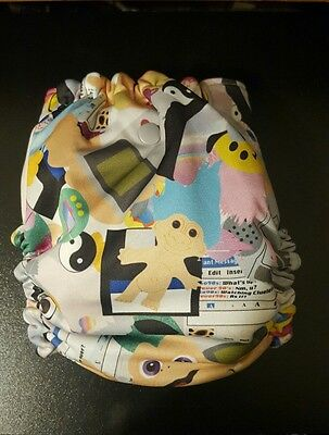 OS Lined Cloth Diaper Cover 80s 90s Print WAHM Cosmic Cloth euc With insert Snap