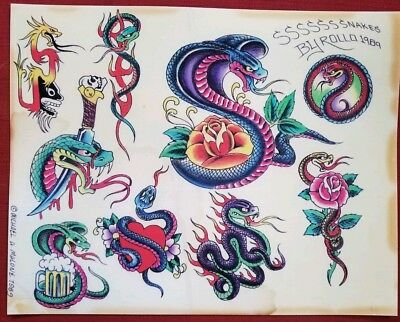 mike rollo banks malone '89 vintage tattoo flash snake cobra fine art print