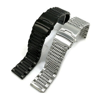 Stainless Steel Bracelet Double Locking Clasp Replacement Watch Band Strap 22mm