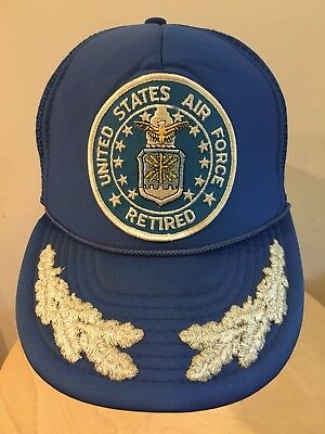 True Vintage United States Air Force Retired SnapBack Trucker Hat Cap Vtg  80s 57973e6c2fb2
