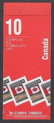 CANADA BOOKLET BK153Cd 10 x 43c FLAG OVER PRAIRIE. CBN CPP, OPEN COVER WITH TI