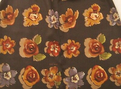 Echo 100% Silk Long Floral Scarf Flowers on Black 11 x 53/28 x 135 cm Ex. Cond.