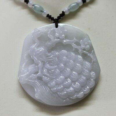 RARE Genuine JADE Certified Natural Fine Light Lavender Jadeite Peacock Pendant