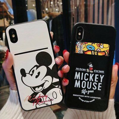 Mickey Mouse Leather Skin Card Slot Case Cover for iPhone 6 7 8 X XS Plus C0369