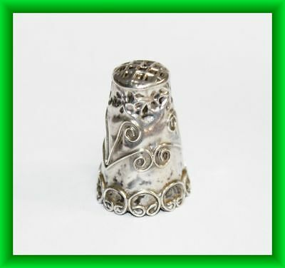 Vintage Sterling Silver .925 Signed JNM Mexico Artisan Sewing Thimble Old