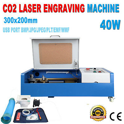 40W CO2 Laser Engraving Cutting Engraver Cutter Machine 12x8in Movable 4 Wheels