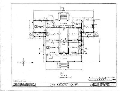 Antebellum Plantation home, single story, porches, architectural plans, PDF file