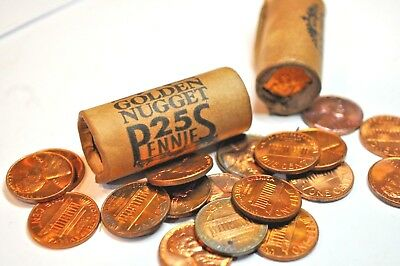 1 Roll 1961 Rare Golden Nugget Casino Lincoln Cent Short Roll - 25 Pennies