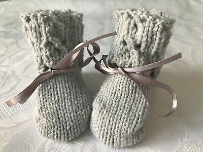 NEW Hand knitted  Unisex Silver  Grey Baby  Booties Fits 0 - 3 Months