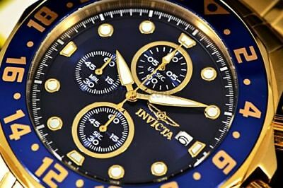 15942 Invicta Men's 48MM Speciality Blue Dial Gold Tone Chronograph SS Band Watc