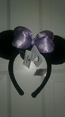 NEW Disney Parks Minnie Satin Bow Plus Ear  Headband Polka Dot Purple Ears
