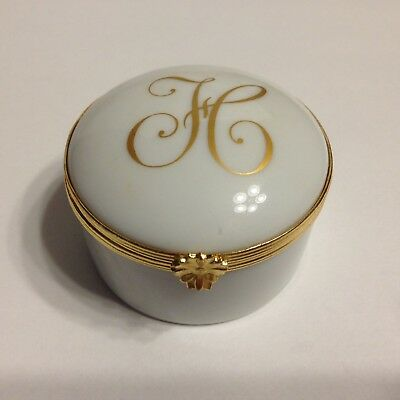 """Limoges France Porcelain China Hinged 2 Inch Trinket Jewelry Box Jar """"H"""" Initial"""