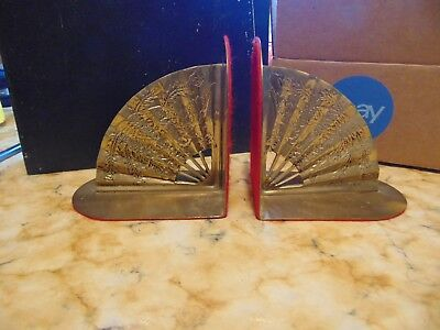 Vintage Phoenix Asian oriental fan Solid Brass Bookends decor feng shui chinese