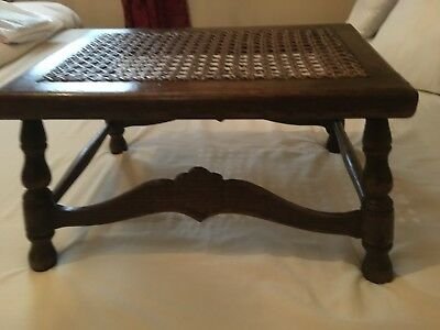 Antique Oak and cane foot stool, 1920s !