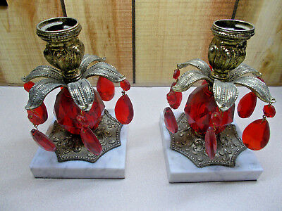 Pair of Antique  Brass Candle Stick Holders Red Teardrop Crystal  & Marble Base