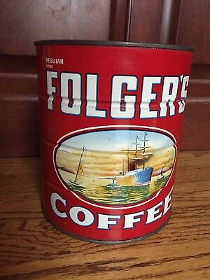 """Vintage Rare Folger's Coffee Tin Can, 3 LBS, Ships Flowers Special Edition, 7"""""""