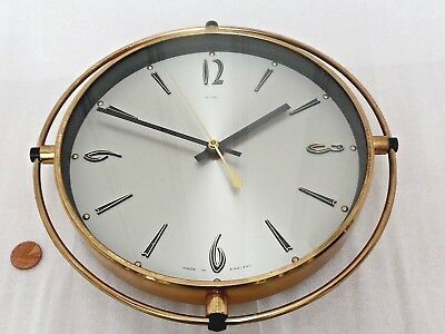 50/60s ATOMIC WALL CLOCK, Vintage ROUND GOLD METAMEC, Retro HALL QUARTZ BATTERY