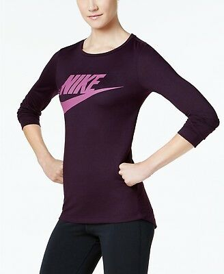 effaf2d63537a0 Nike Sportswear Womens Essential Long Sleeve Port Wine Berry Top Small  45  NWT