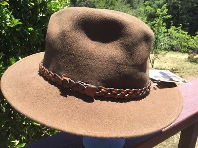 63b271b4 Dorfman Pacific Scala Mens Crushable Wool Felt Outback Hat Brown 2 1/2