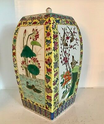 """Big 12 3/4"""" Republic Chinese Porcelain Yellow Famille Jaune Ginger Jar with Lid"""
