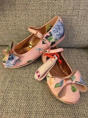 Brand New Ted Baker Girls Bow Shoes Size Uk2 Euro 35