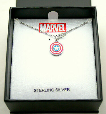Marvel Comics Captain America Shield Necklace Pendant New NOS Box 925 Silver