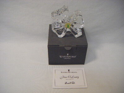 """Signed Waterford Crystal Irish 5"""" Shamrock Oleary Clover Ireland Paperweight G13"""