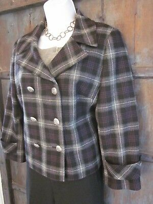 70931720053 Helene Berman London Womens Winter Black Plaid Short Wool Jacket Size Large  L