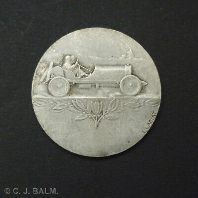 Antique French Silvered Bronze Racing Car Medal by L. Cariat. c.1910