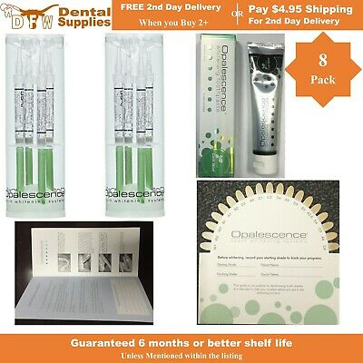 8 Syringes OPALESCENCE PF 35% Mint Teeth Whitening Gel + Toothpaste, SHADE GUIDE