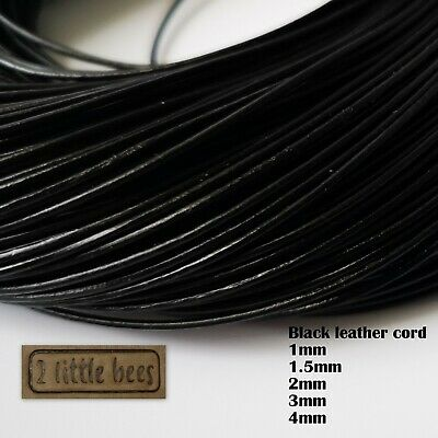 1.5mm Real Round Leather Cord Necklace Jewellery Rope String Thread Black UK