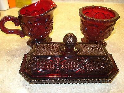 Avon Cape Cod 1876 Ruby Red Glass Lot Covered Butter Dish, Sugar & Creamer Set