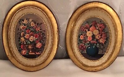 Vintage Pair of Florentine Wooden Floral Pictures Italy