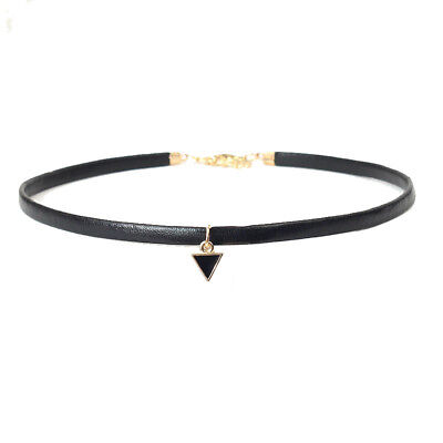 Women Velvet Choker Necklace Black Suede leather Rope Chain gold triangle Uk