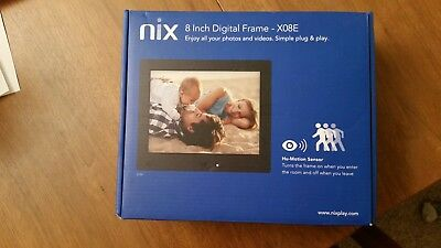 NIX 8in Digital Frame X08E Hi-Res with Hu-Motion Sensor, NEW
