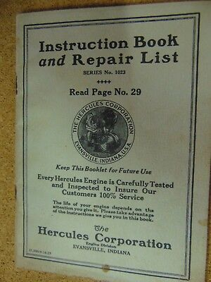instruction book & parts list of hercules stationary engines