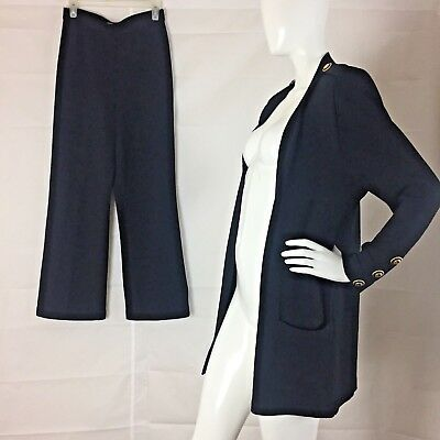 St. John Santana Stretch Knit By Marie Gray Black Jacket Pants Suit Military 6