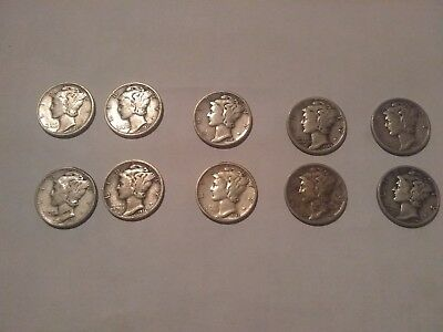 Lot of 10 Mercury Silver Dimes - 90% Silver 1930s-1940s Dated Coins