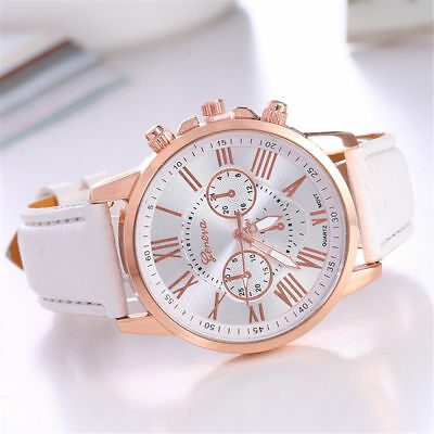 Fashion Geneva Women Lady Leather Watch Stainless Steel Quartz Analog Wristwatch
